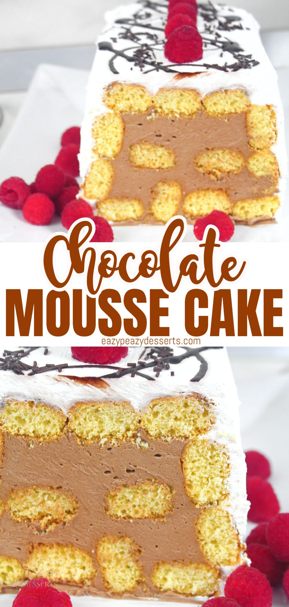 Looking for a fast, easy and no-bake dessert? Here it is: a delicious chocolate mousse cake made with ladyfingers. It comes together really fast, and there's absolutely no baking involved! via @eazypeazydesserts