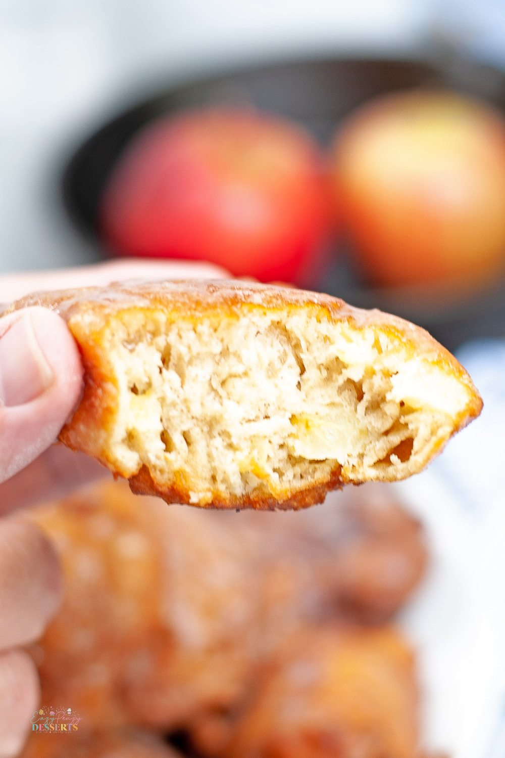 Detailed image of the inside of homemade fried apple fritters