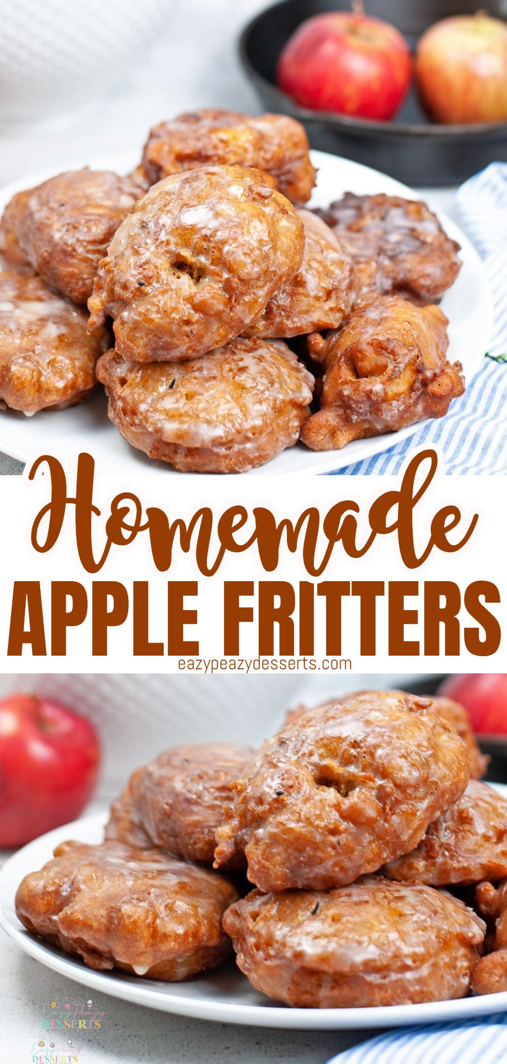 Deep fried dough filled with fresh apples and coated with a vanilla glaze, these easy homemade apple fritters are a delicious treat for breakfast or dessert! via @eazypeazydesserts