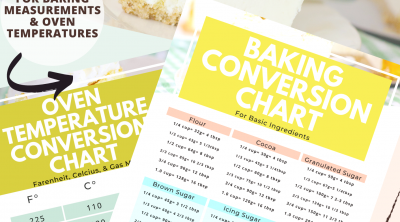 Kitchen conversion chart printable with baking conversion chart and oven temperature chart